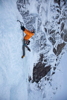 Andy Cave Climbing Stand and Deliver on Aonach Beag (c) Paul Diffley