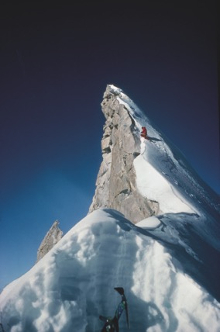 Chris Bonington approaching the summit of Shivliing in 1983. (c) Jim Fotheringham