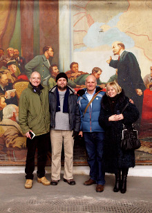 Rory, Nick Danziger and guides (including Vladimir Ilyich) researching ?Back in the USSR?? (c) Nick Danziger
